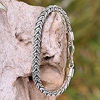 Sterling silver braided bracelet, 'Java Temptation' - Handmade Sterling Silver Chain Bracelet