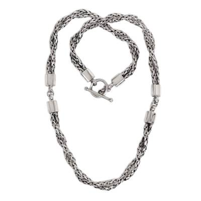 Sterling silver chain necklace, 'Cosmic Paths' - Sterling Silver Chain Necklace