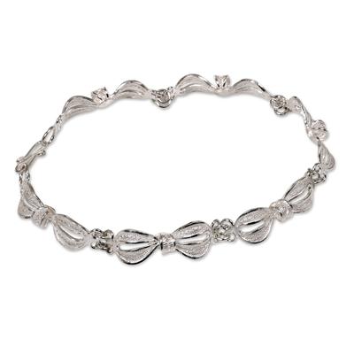 Sterling silver link bracelet, 'Wedding Ribbons' - Indonesian Sterling Silver Link Bracelet