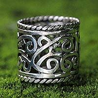 Sterling silver band ring, 'Floral Rapture'