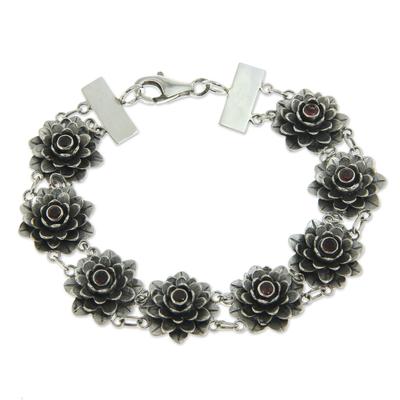 Garnet flower bracelet, 'Sacred Red Lotus' - Garnet flower bracelet
