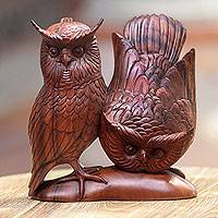 Wood statuette, 'Owl Couple' - Hand Made Wood Bird Sculpture