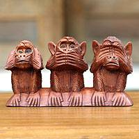 Wood statuette, 'Three Wise Monkeys' - Wood Sculpture from Indonesia