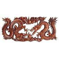 Wood relief panel, 'Battle of the Dragons' - Handcrafted Wood Relief Panel