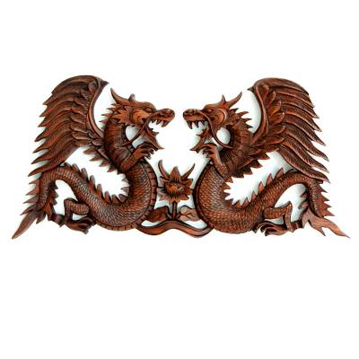 Wood relief panel, 'Winged Dragons' - Handmade Wood Relief Panel from Indonesia