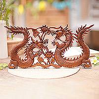 Wood relief panel, 'Dragons Amid Flowers' - Wood Relief Panel