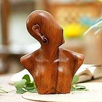 Wood statuette, 'Modern Woman' - Wood statuette