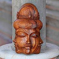 Wood mask, 'Radiant Trinity' - Cultural Wood Mask from Indonesia