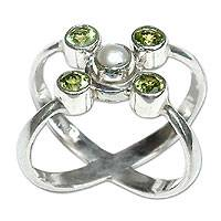 Cultured pearl and peridot cocktail ring, 'Orbits' - Sterling Silver Handcrafted Peridot and Pearl Cluster Ring