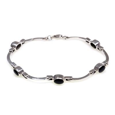 Sterling Silver Onyx Bracelet from Indonesia