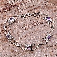 Amethyst link bracelet, 'Contentment'
