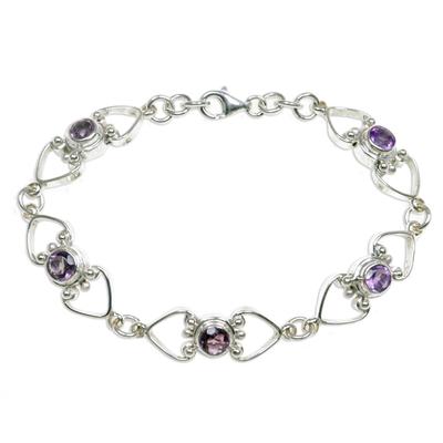 Amethyst Heart Link Bracelet