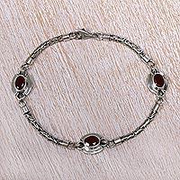 Garnet charm bracelet, 'Triple Passion' - Garnet charm bracelet