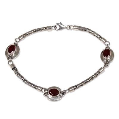 Garnet charm bracelet