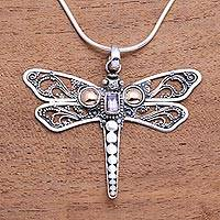 Gold accent amethyst pendant necklace, 'Dragonfly Summer'