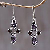 Garnet and amethyst dangle earrings, 'Crystal Melody' - Women's Amethyst Sterling Silver Dangle Earrings