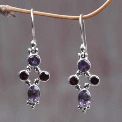 Garnet and amethyst dangle earrings, 'Crystal Melody' - Women's Amethyst Sterling Silver Dangle Earrings