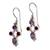 Garnet and amethyst dangle earrings, 'Crystal Melody' - Women's Amethyst Sterling Silver Dangle Earrings (image 2a) thumbail