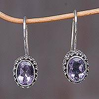 Amethyst drop earrings, 'Purple Spell'