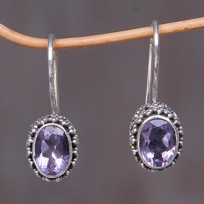 Amethyst drop earrings, 'Purple Spell' - Sterling Silver Amethyst Drop Earrings