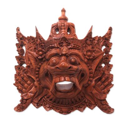 Balinese Carved Wood Mask Depicting Alengka King of Alengka