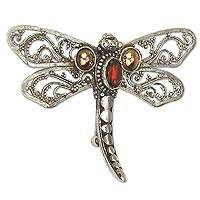 Gold accent garnet brooch pin, 'Dragonfly Salvation' - Gold accent garnet brooch pin
