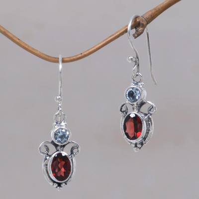Garnet and blue topaz dangle earrings, 'Fire and Ice' - Garnet Sterling Silver Dangle Earrings