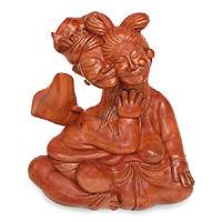 Wood statuette, 'Love Instills Peace' - Wood statuette