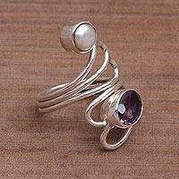 Amethyst and pearl ring, 'Pure in Heart' - Sterling Silver Bali and Java Amethyst and Pearl Ring