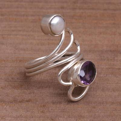 Amethyst and pearl ring, 'Pure in Heart' - Amethyst and Pearl Ring