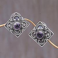 Amethyst button earrings, 'Mystical Flower' - Amethyst button earrings