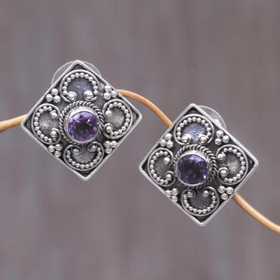 Amethyst button earrings, 'Mystical Flower' - Amethyst button earrings