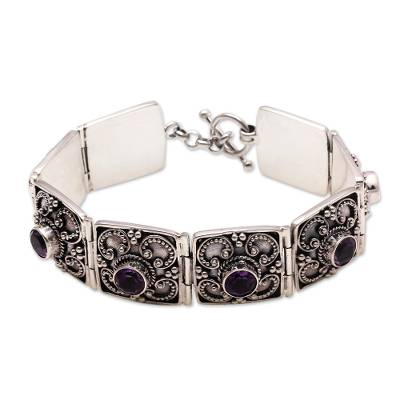 Amethyst bracelet, 'Mystical Flower' - Amethyst bracelet