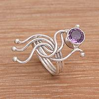 Amethyst ring, 'Sea Dragon' - Amethyst Cocktail Ring with Sterling Silver