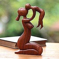 Wood sculpture, 'Mother's Love' - Handcrafted Indonesian Wood Mother and Child Sculpture