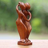 Wood sculpture, 'Step Forward' - Unique Wood Sculpture