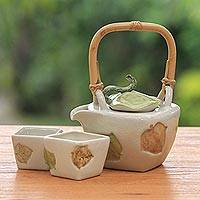 Stoneware tea set, 'Hibiscus Leaves' (set for 2) - Hand Crafted Stoneware Tea Service (Set for 2)