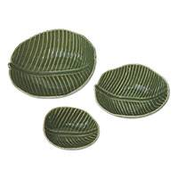 Stoneware ceramic bowls, 'Banana Garden,' (set of 3) - Stoneware ceramic bowls (Set of 3)