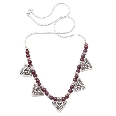 Garnet pendant necklace, 'Shields of Sun' - Garnet Sterling Silver Pendant Necklace