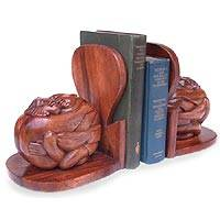 Wood bookends, 'Shared Soul' (pair) - Romantic Carved Wood Bookends (Pair)