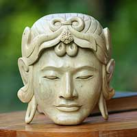 Wood mask, 'Buddha from China' - Wood mask