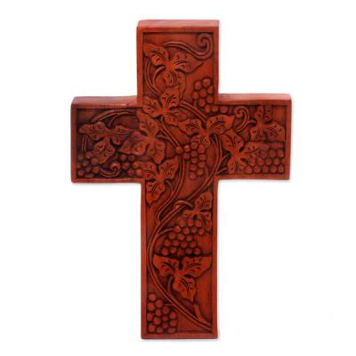 Mahogany cross, 'Parable of the Vine' - Handcarved Mahogany Wood Wall Cross