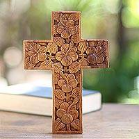 Wood cross, 'Hibiscus' - Mahogany Wood Cross Sculpture