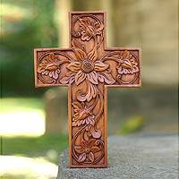 Mahogany cross, 'Balinese Flowers' - Mahogany cross