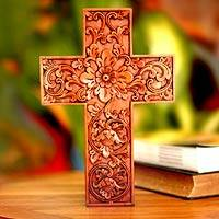 Mahogany cross, 'Samblung Flowers' - Mahogany cross