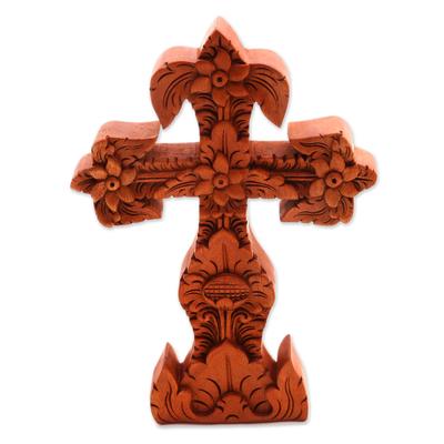 Mahogany cross sculpture, 'Fleur-de-Lis' - Mahogany cross sculpture