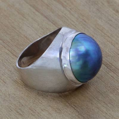 Cultured pearl solitaire ring, 'Blue Moon' - Sterling Silver and Pearl Domed Ring