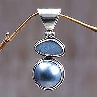 Cultured pearl and opal pendant, 'Eclipse of Blue' - Women's Modern Sterling Silver and Cultured Pearl Pendant