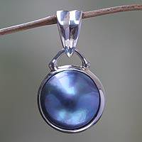 Cultured pearl pendant, 'Serene Moon' - Modern Sterling Silver and Cultured Pearl Pendant