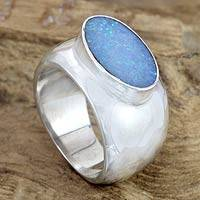 Opal solitaire ring, 'Lagoon Wonder' - Modern Opal and Silver Ring